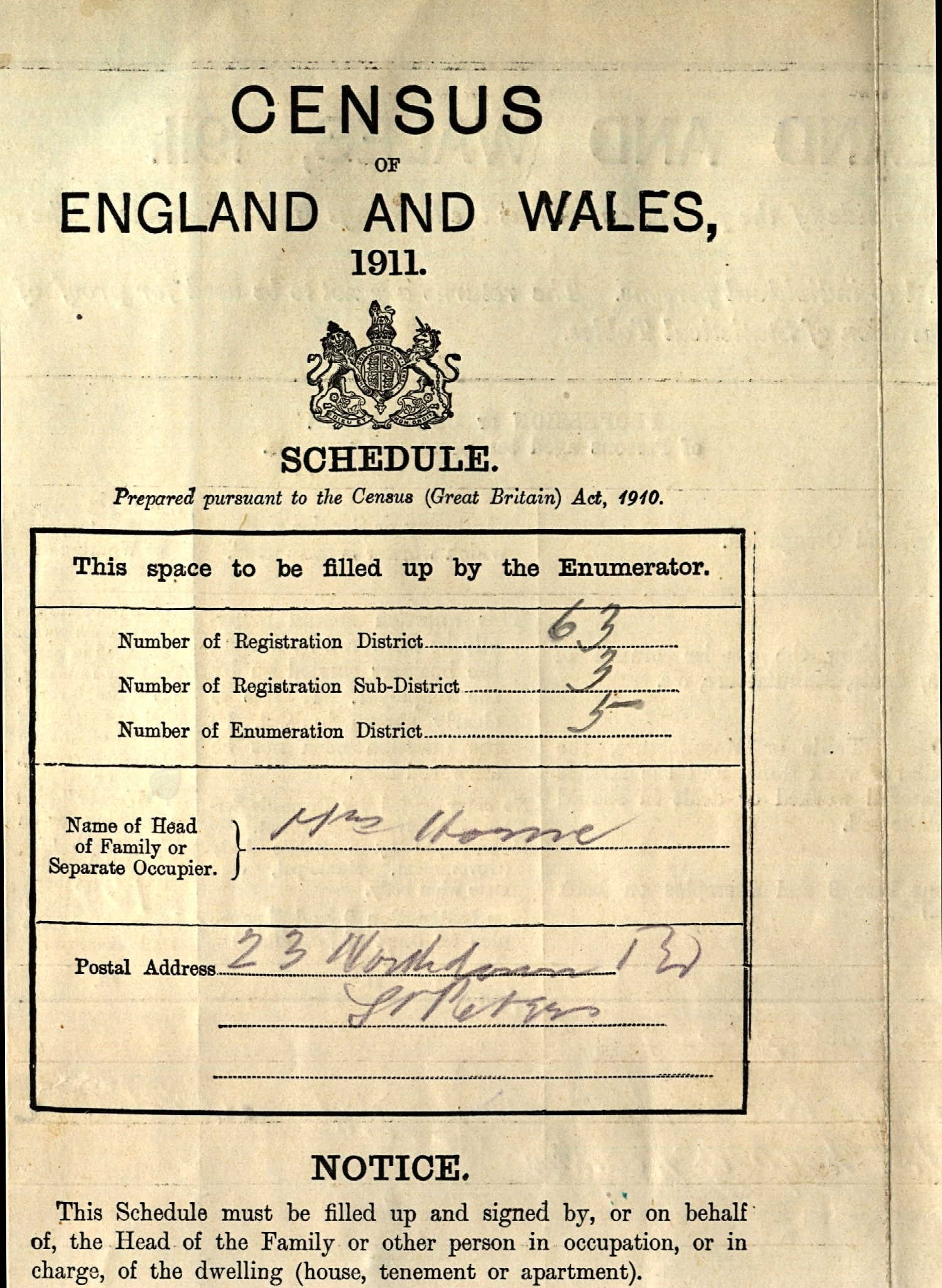 1911 UK census cover page