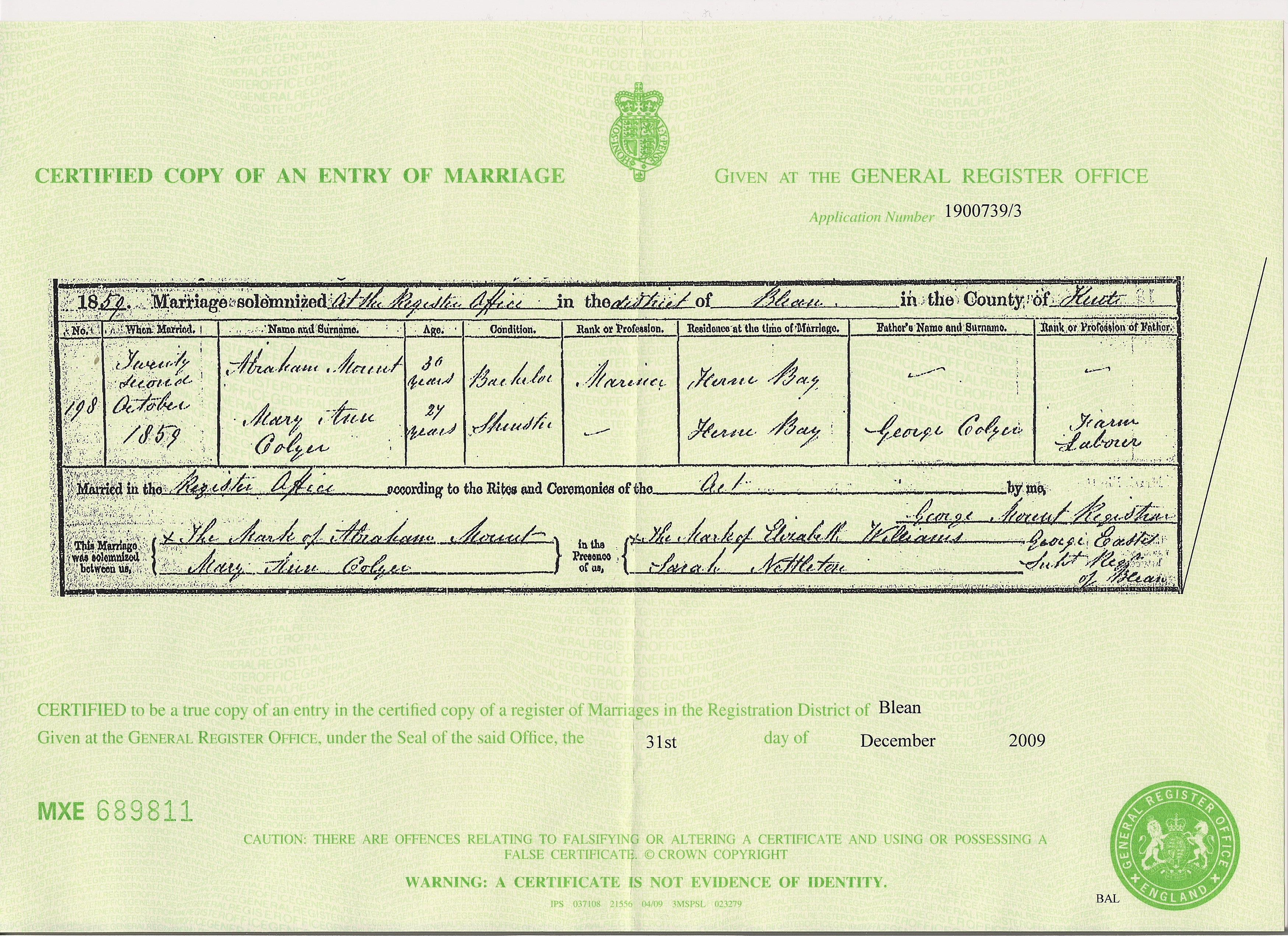 Abraham Mount - Mary Colyer - marriage certificate