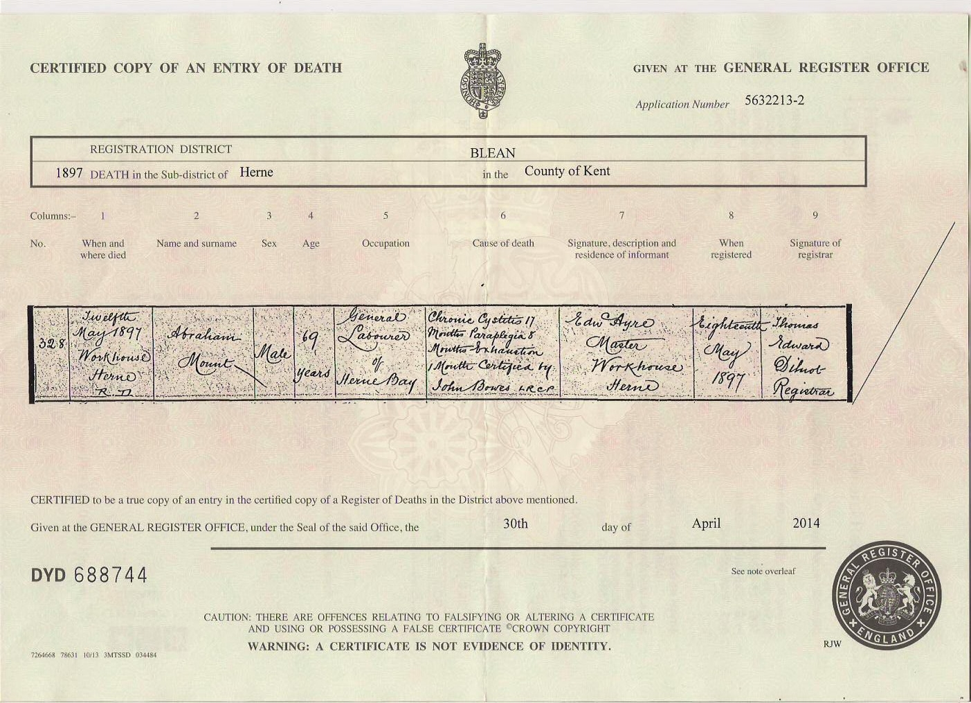 Abraham Mount - death certificate