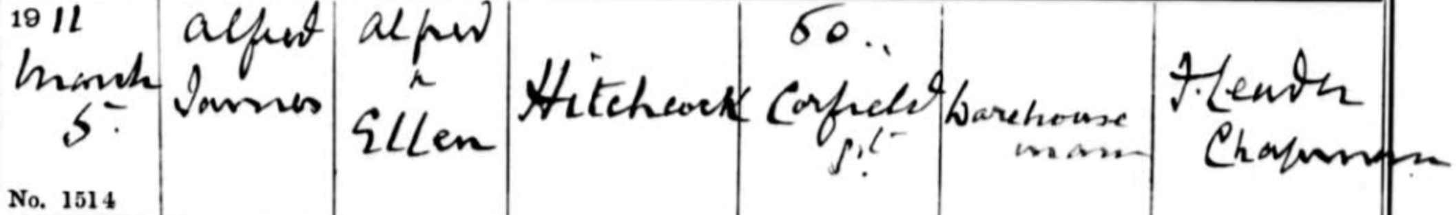 Alfred James Hitchcock - Baptism Record