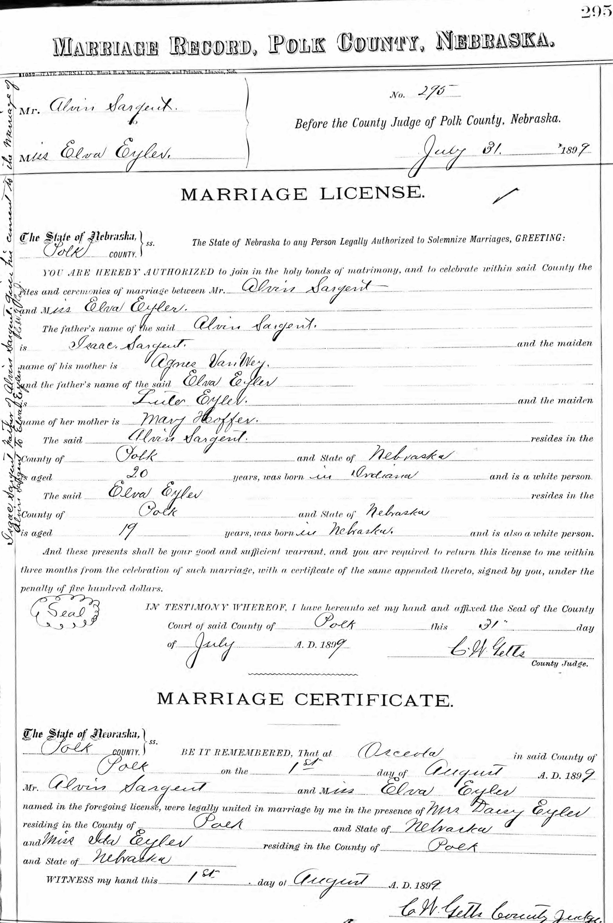 Alvin Sargent - Daisy Eyler - marriage certificate