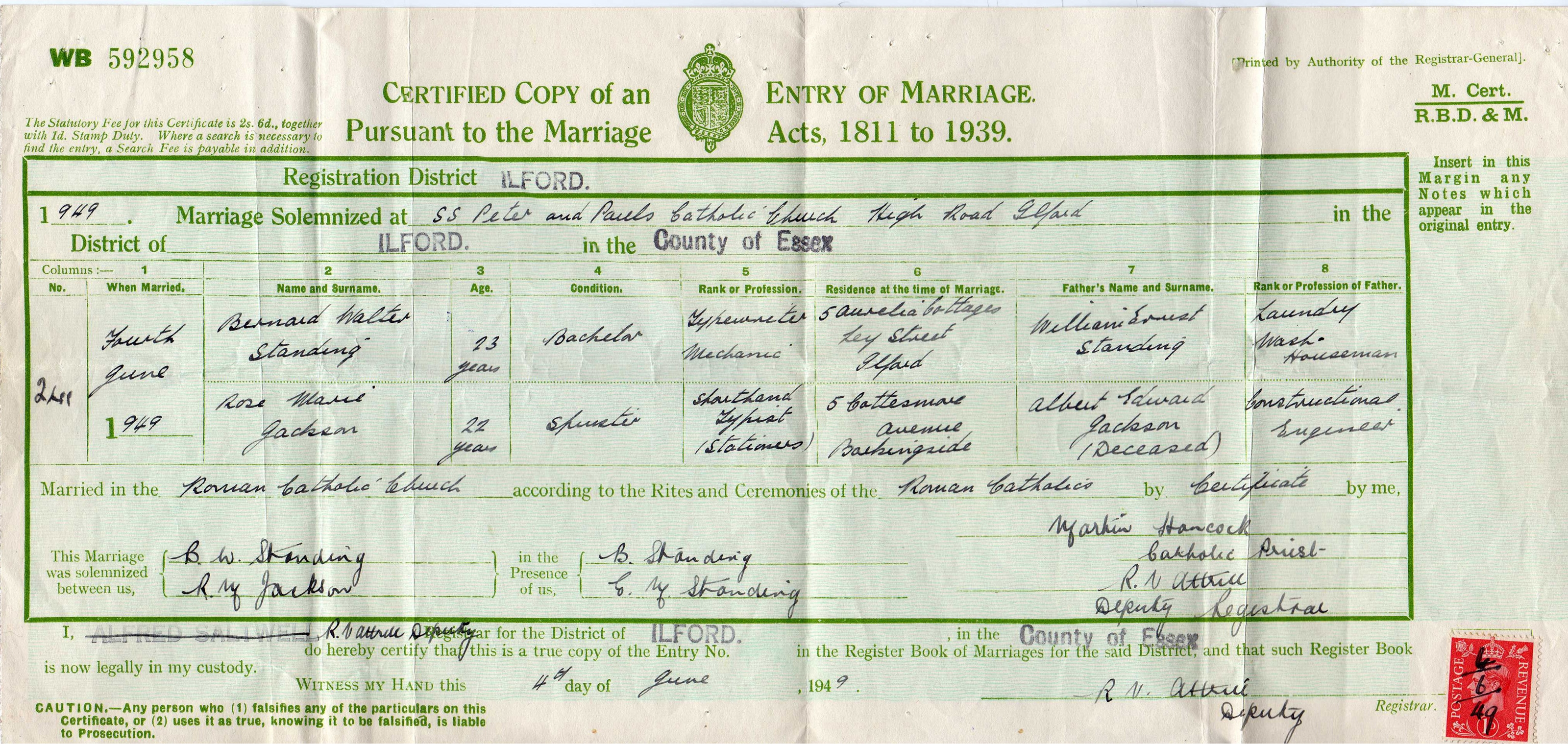 Bernard Standing - Rose Jackson - marriage certifi