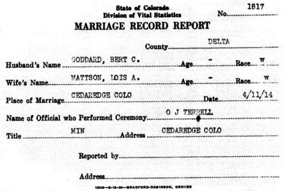 Bertram Goddard - Lois Mattson - Marriage Report
