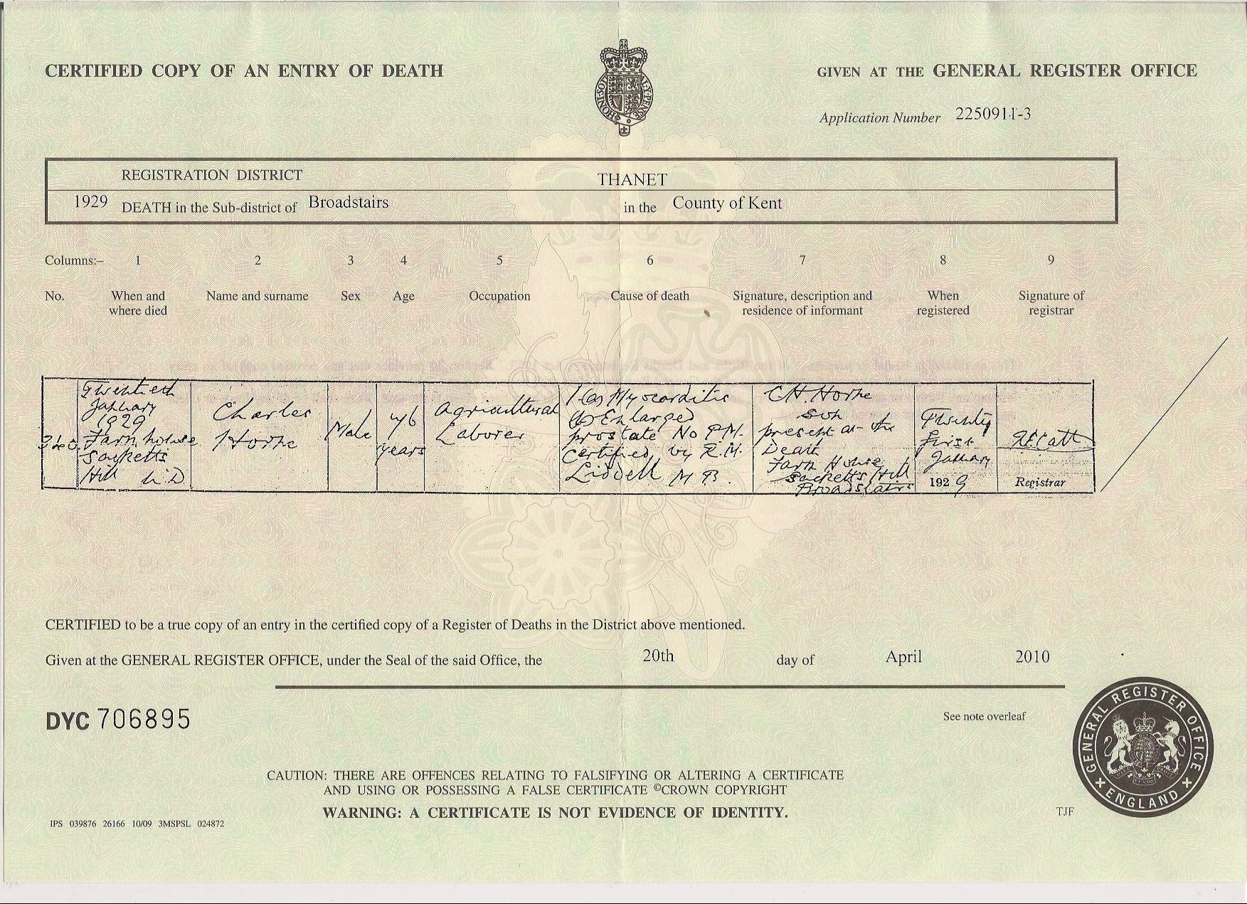Charles Horn - death certificate