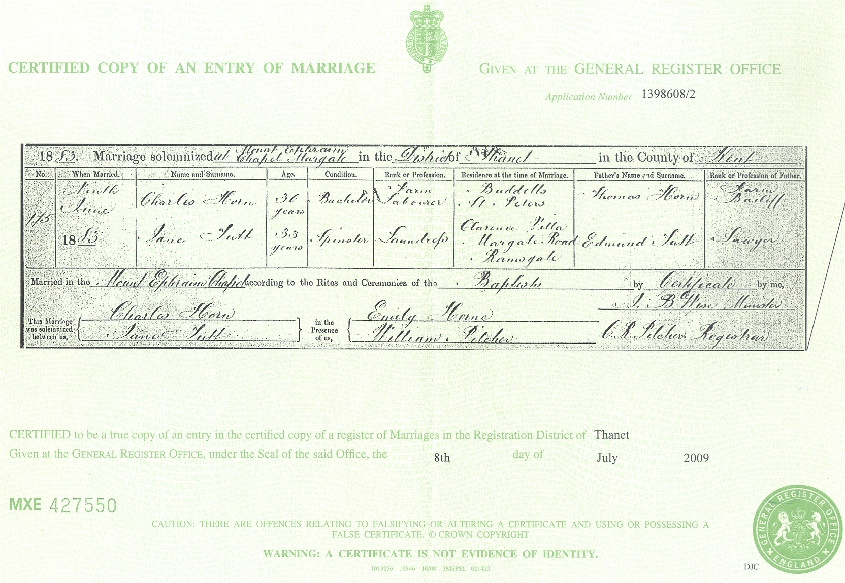 Charles Horne and Jane Tutt - Marriage Certificate
