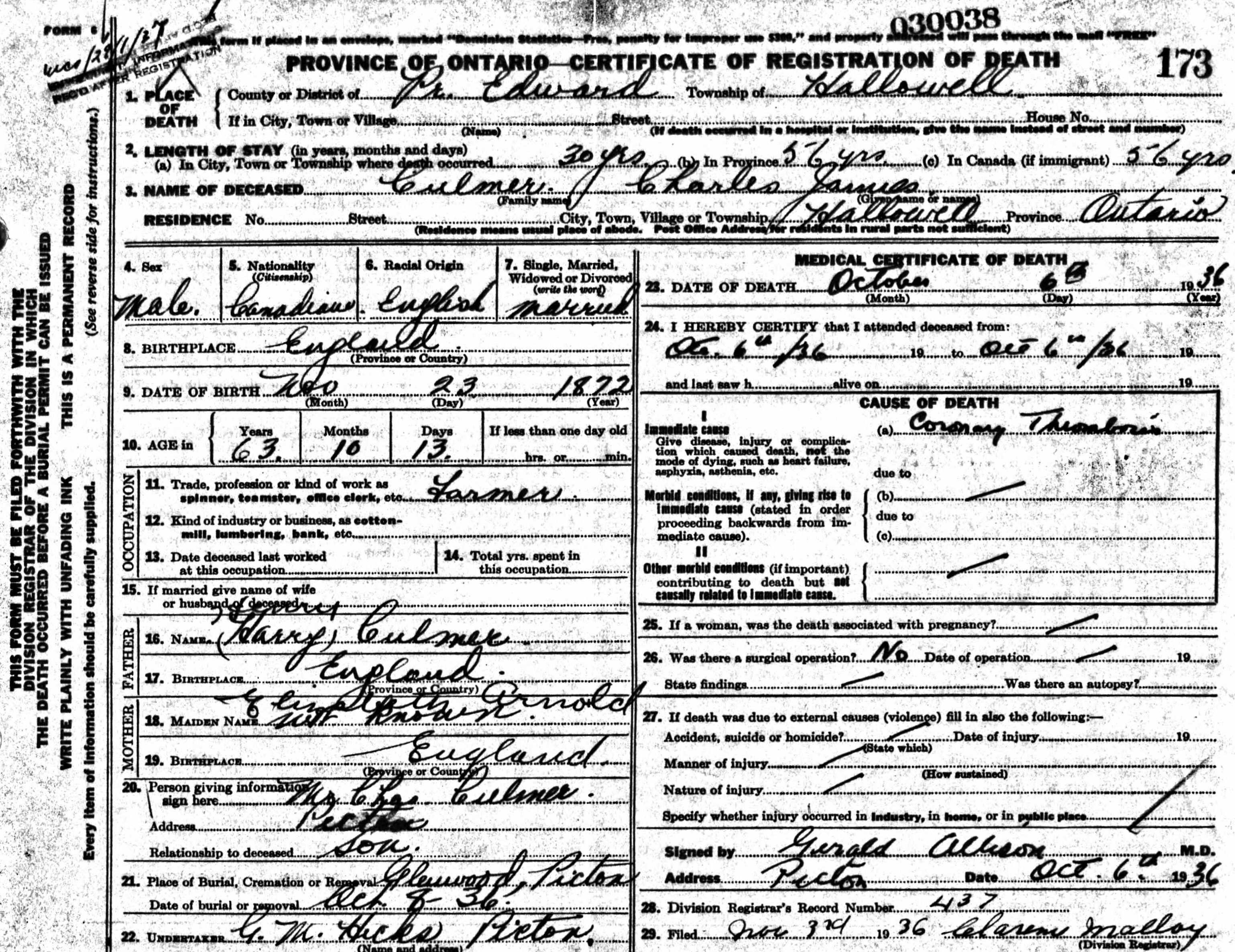 Charles James Culmer - Death Certificate