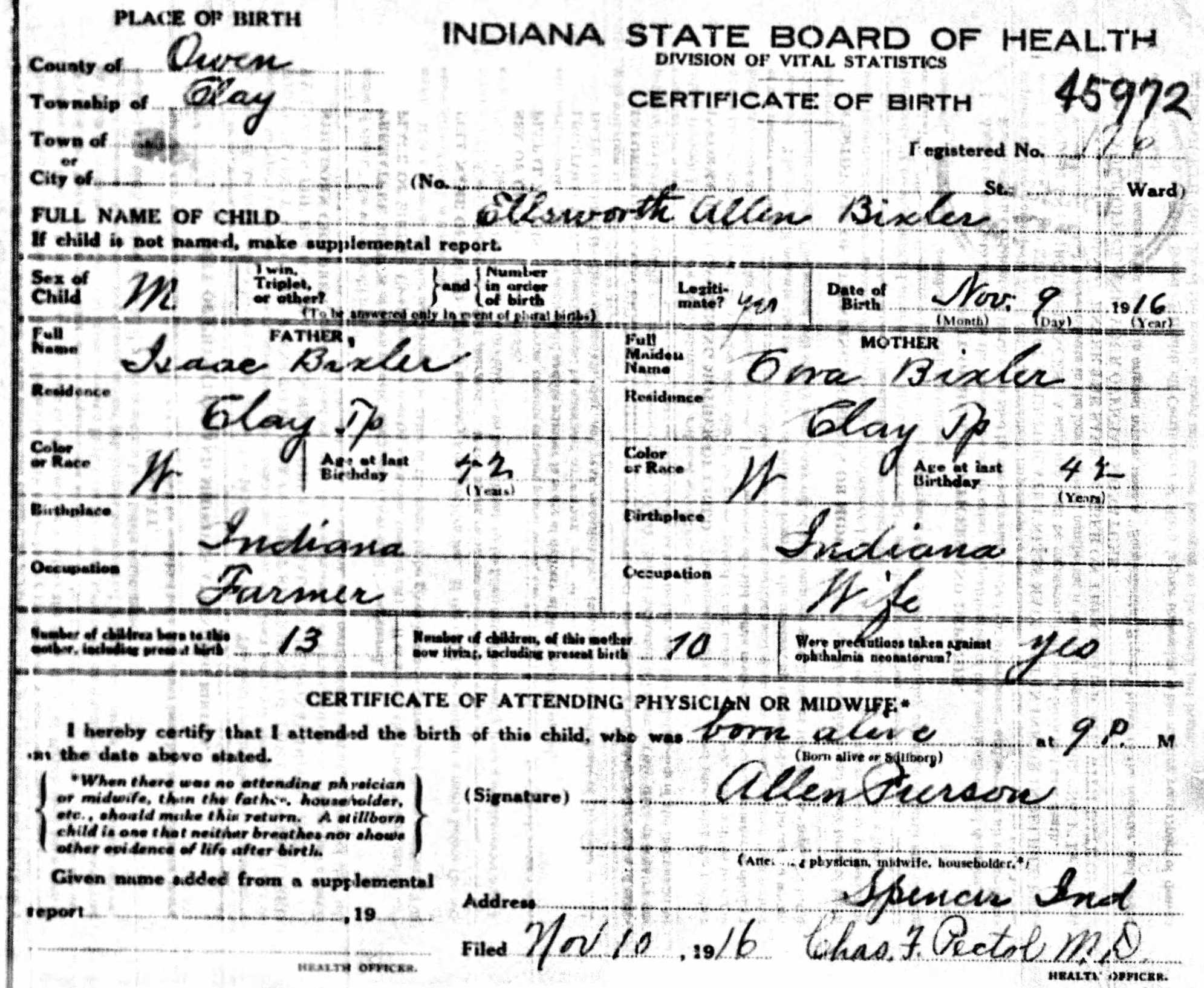 Ellsworth Bixler - birth certificate