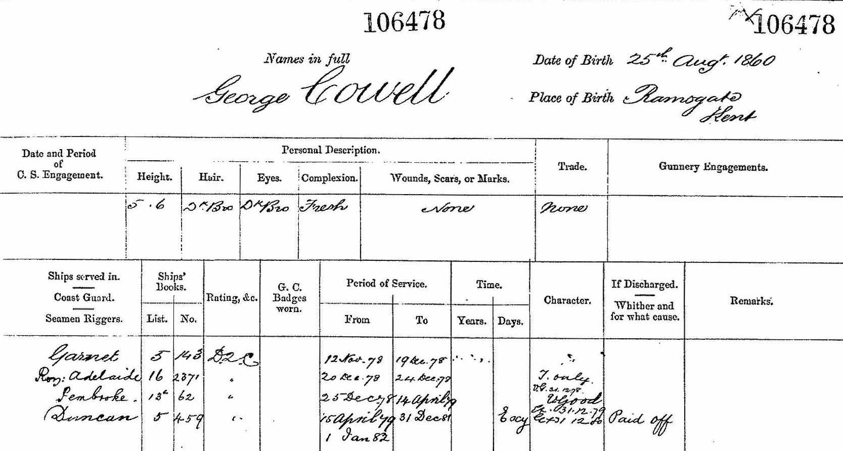 George Cowell - Naval Record