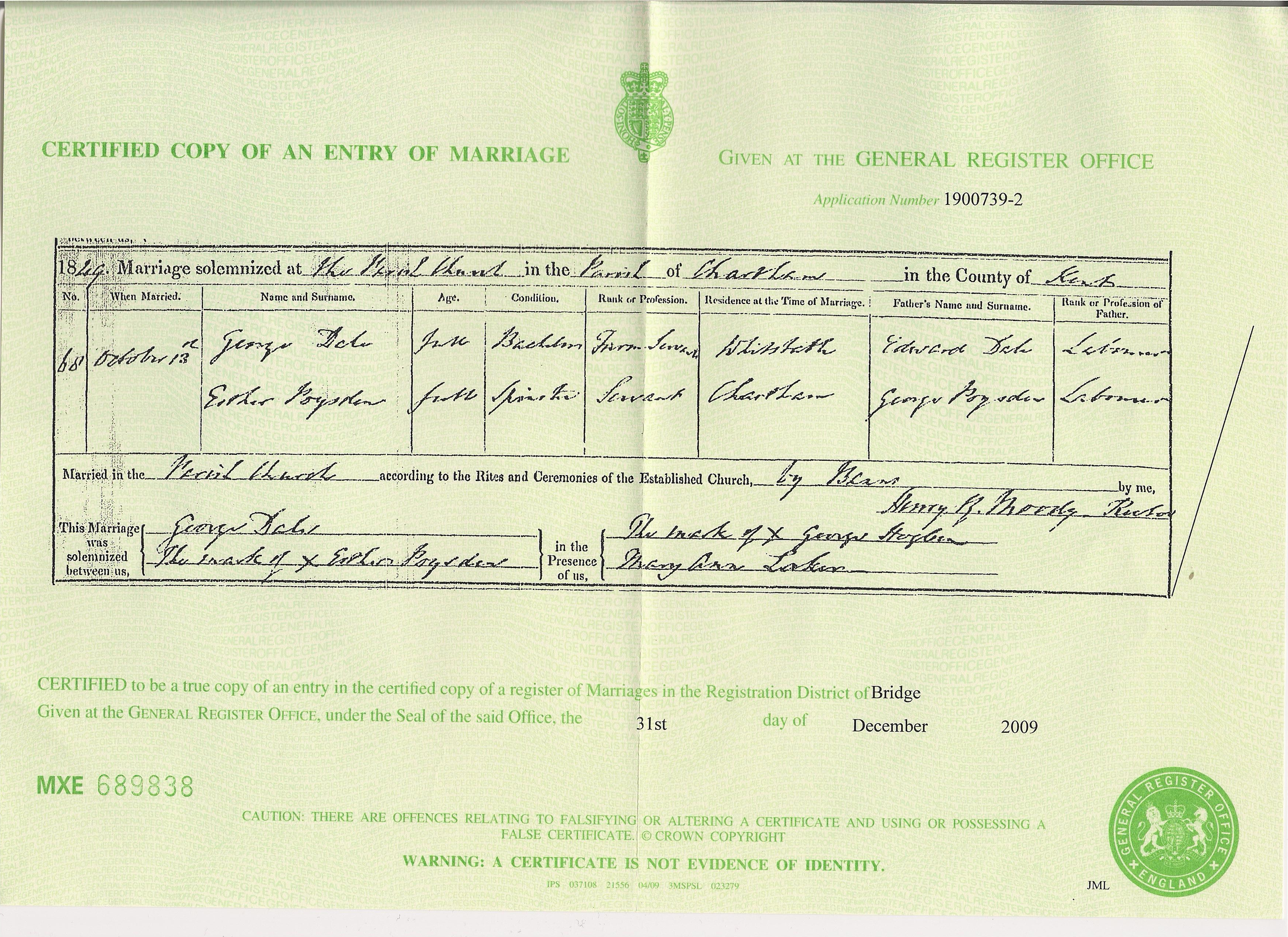 George Dale - Esther Poysden - Marriage Certificate