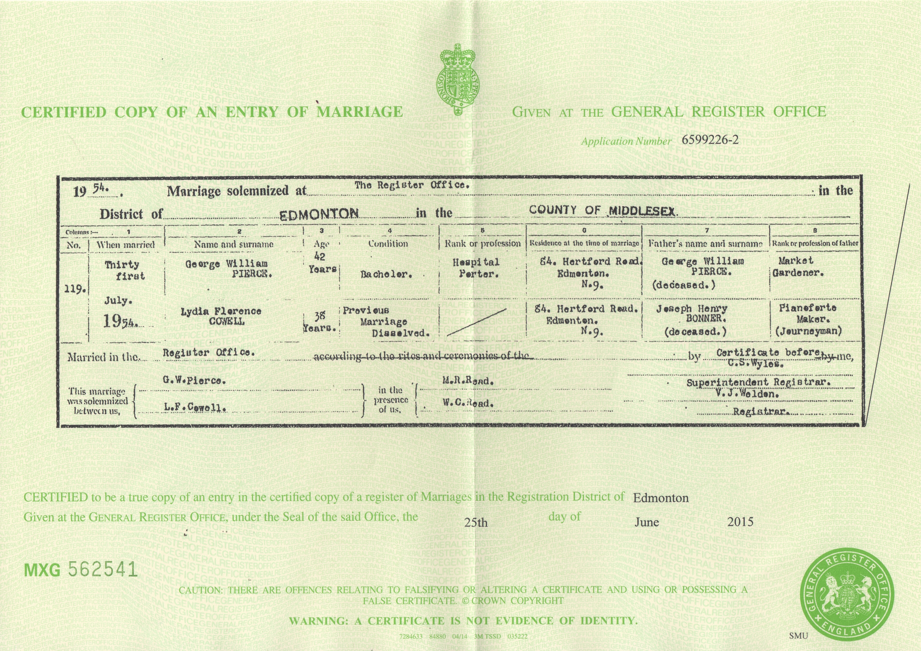 George Pierce - Lydia Bonner - marriage certificate