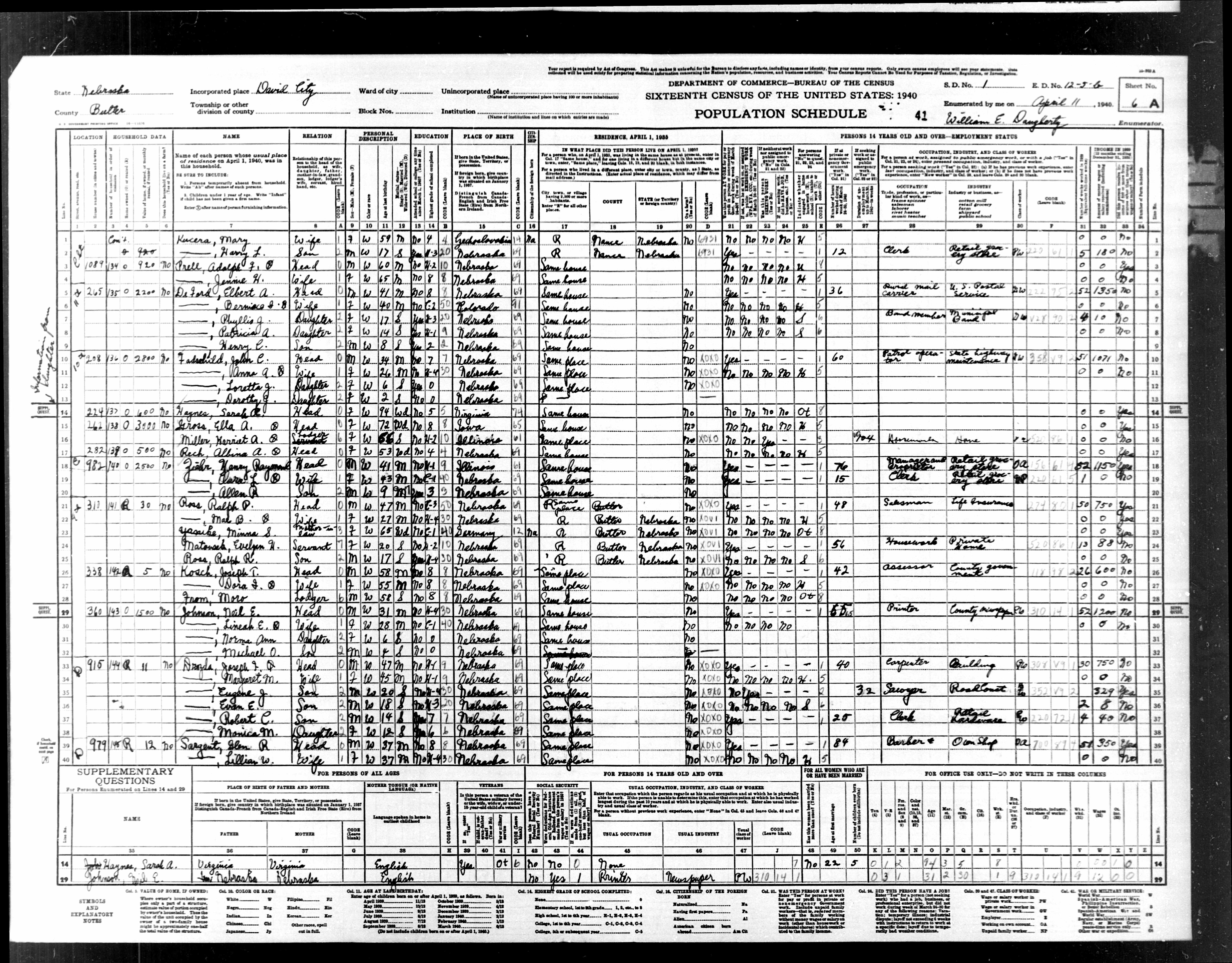 Glen Sargent - 1940 Census