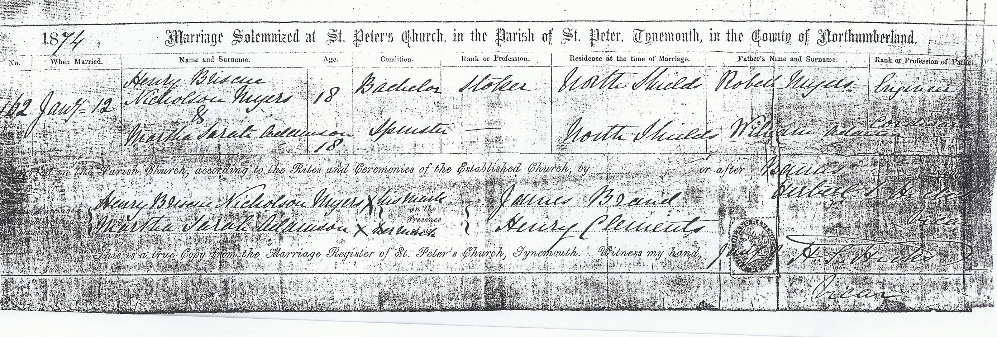 Henry Briscoe Nicholson Myers and Martha Sarah Adamson - Marriage Certificate