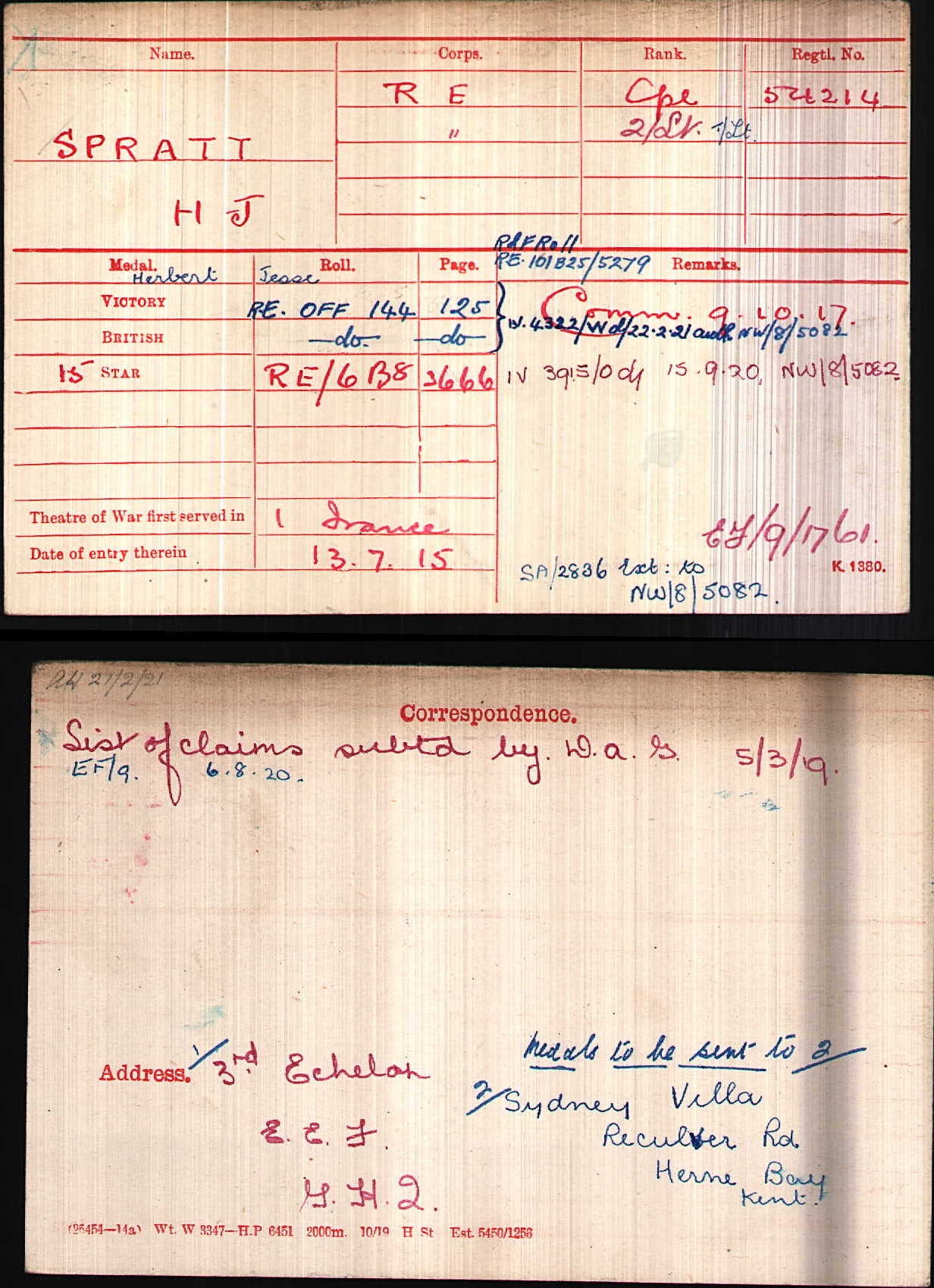 Herbert Spratt - WW1 military record