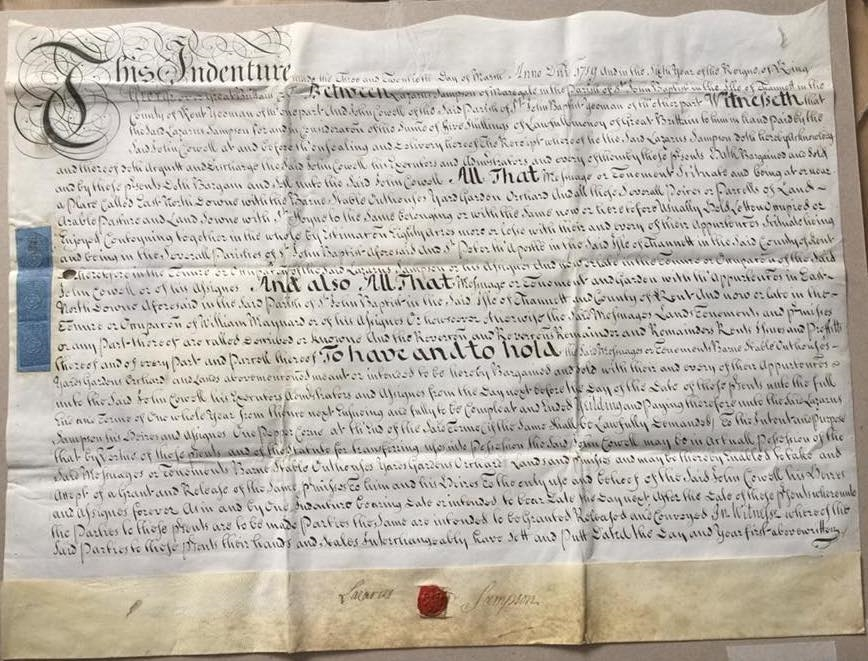 Indenture 1719 - Purchase of Land by John Cowell