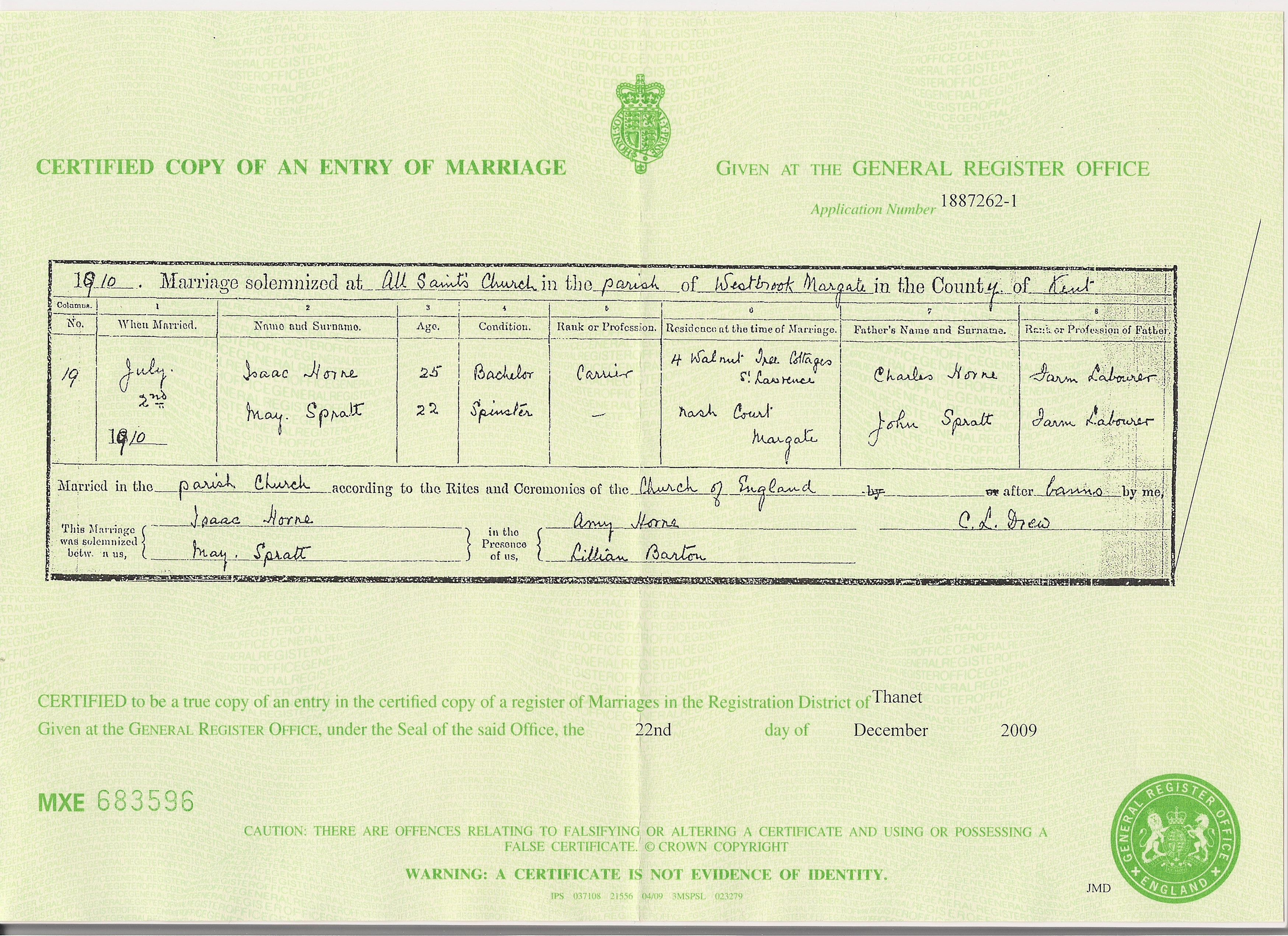 Isaac Horne - May Spratt - marriage certificate