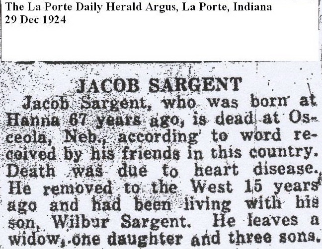 Jacob Sargent - Obituary