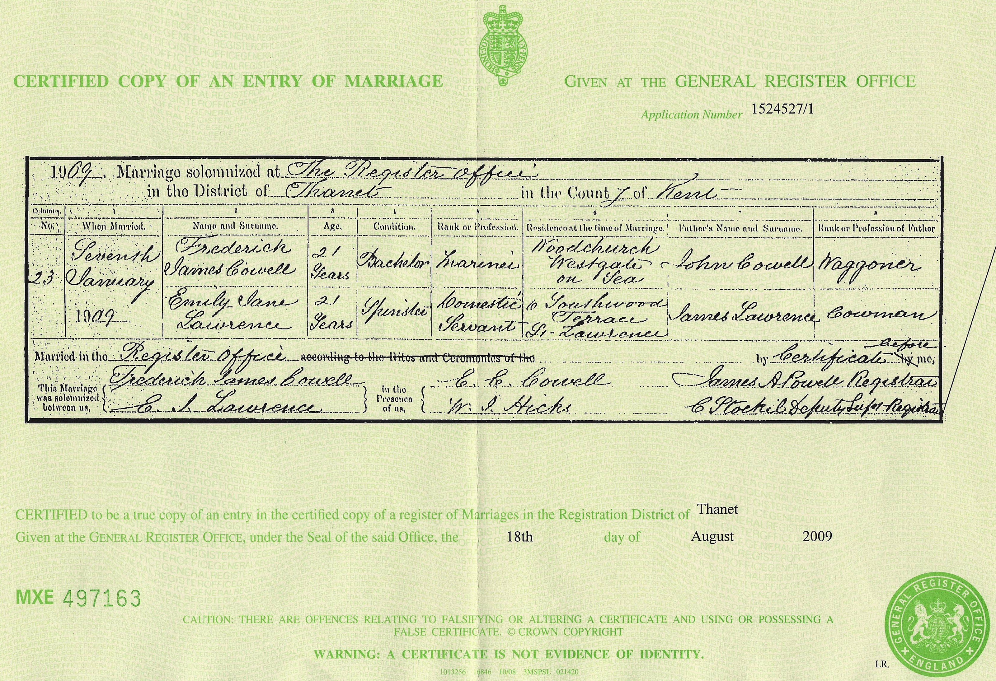 James Cowell - Emily Lawrence - marriage certificate