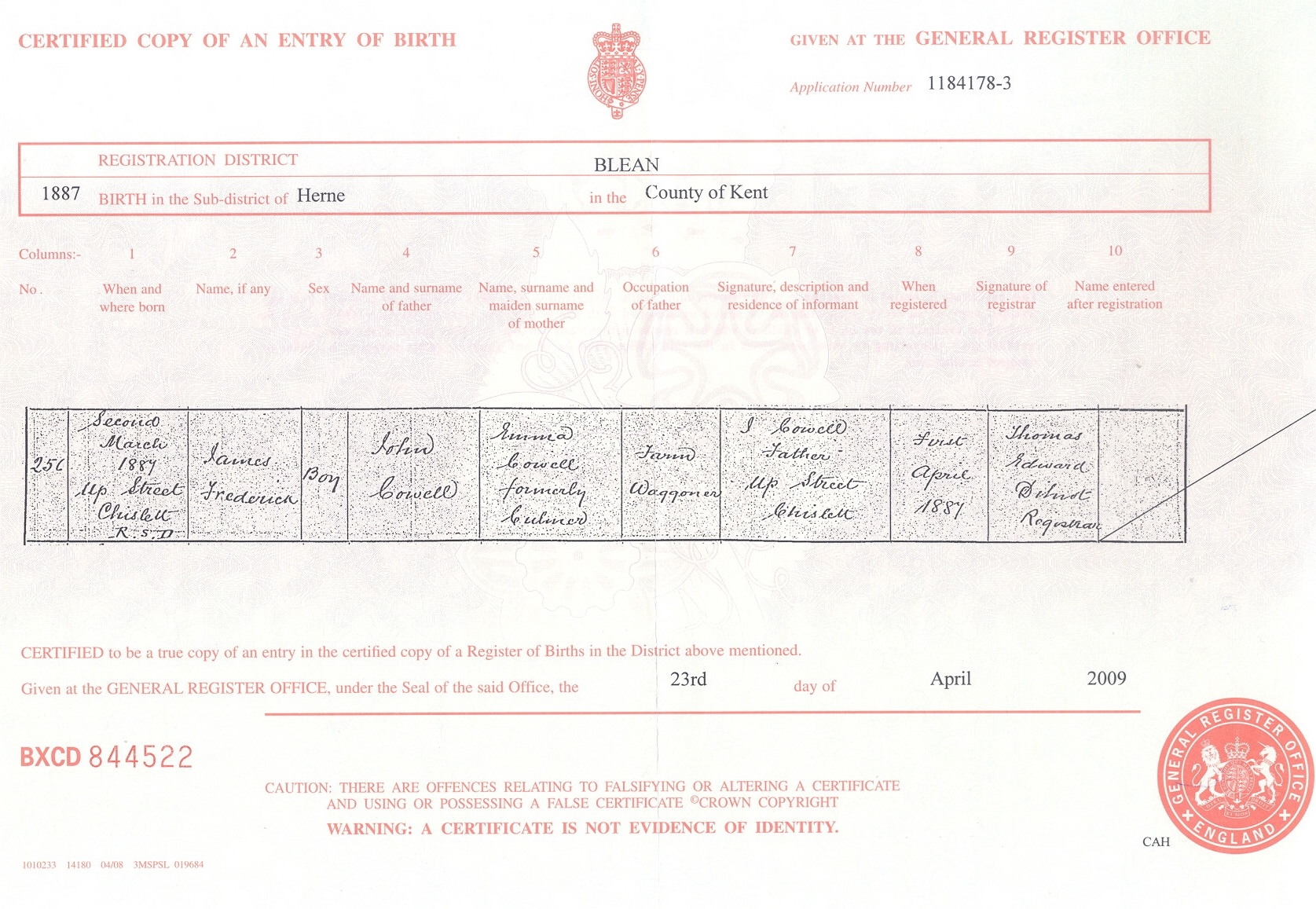 James Cowell - birth certificate