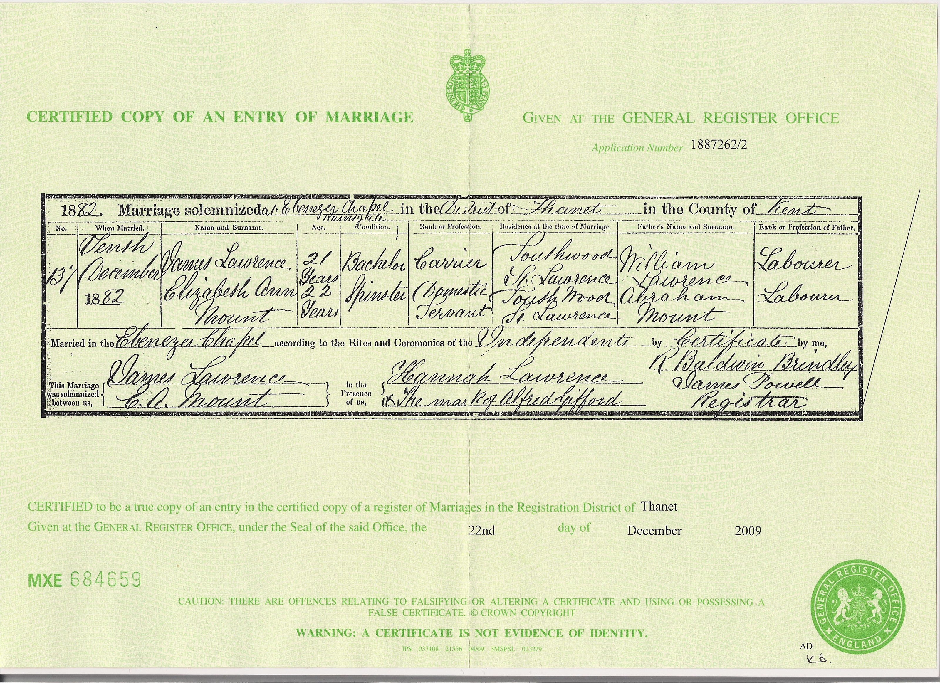 James Lawrence and Elizabeth Ann Mount - Marriage Certificate
