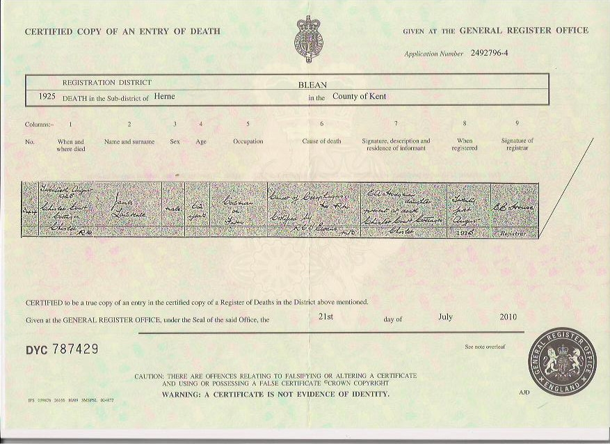 James Lawrence - death certificate