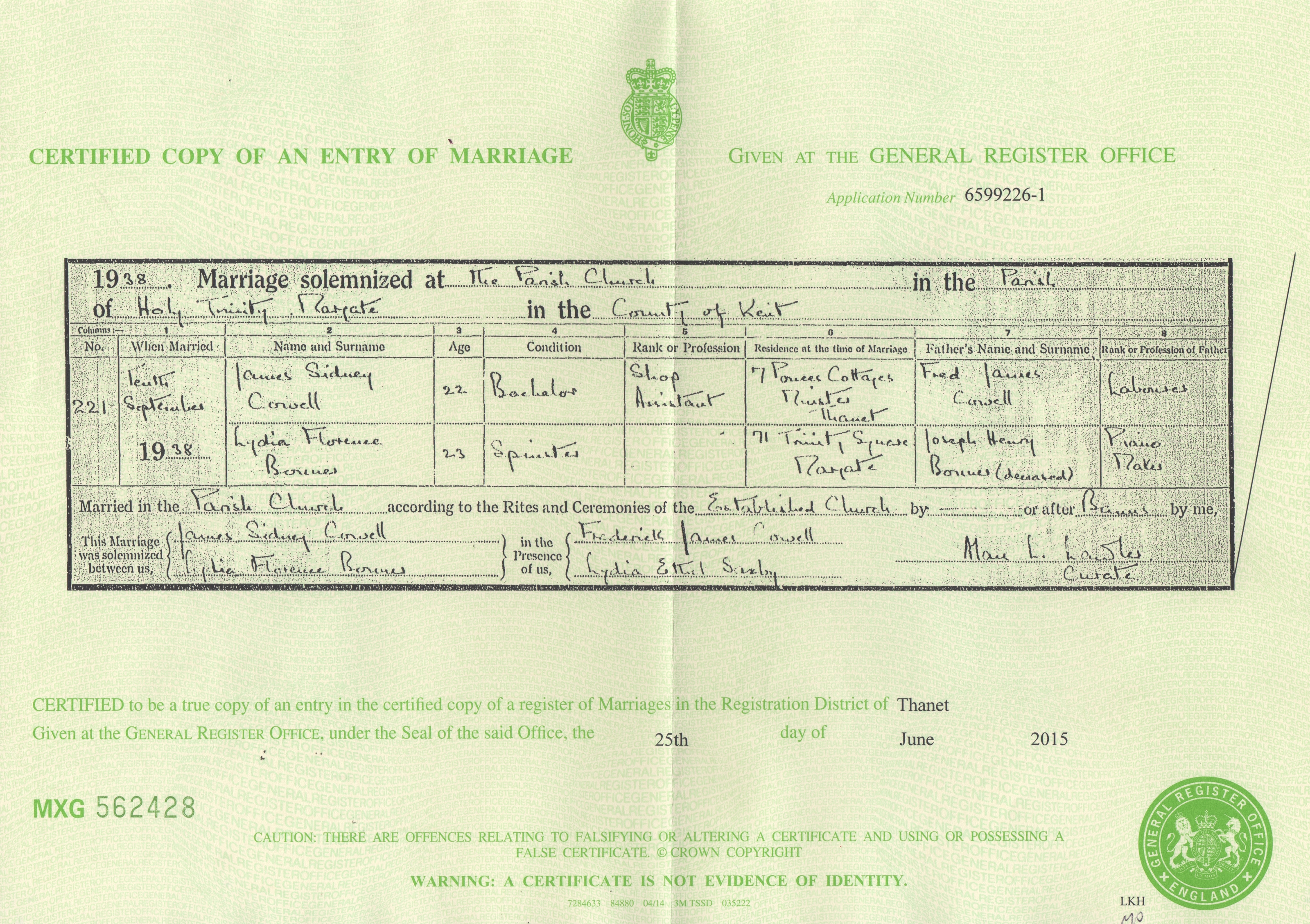 James Sidney Cowell - Lydia Florence Bonner - marriage certificate