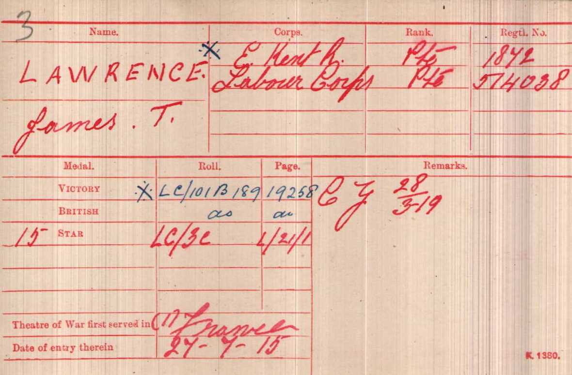 James Thomas Lawrence - WWI Military Record