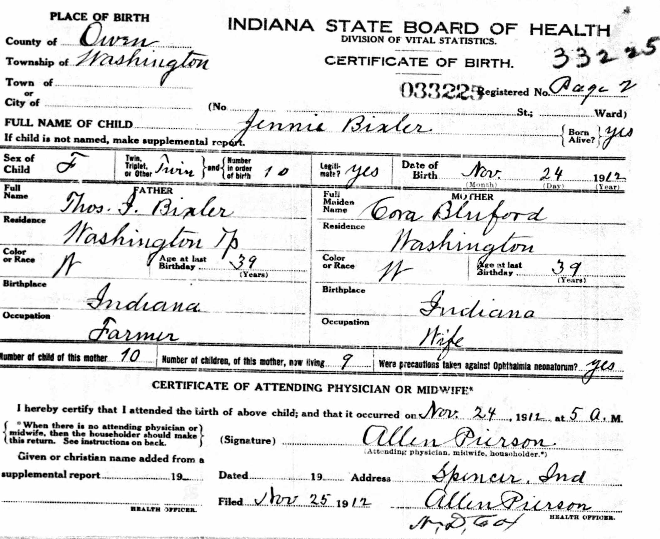 Jennie Bixler - Birth Certificate
