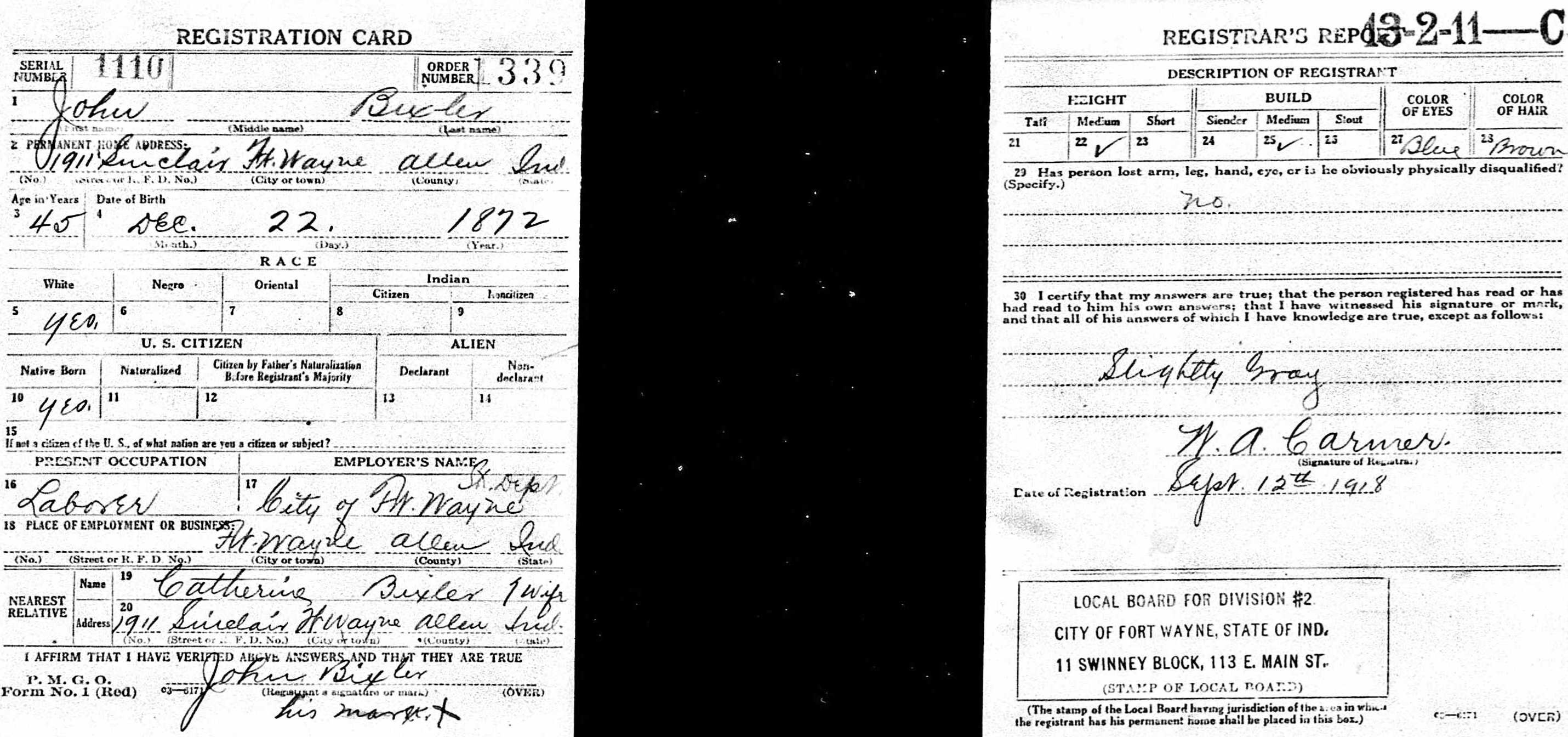 John Bixler - WWI draft card