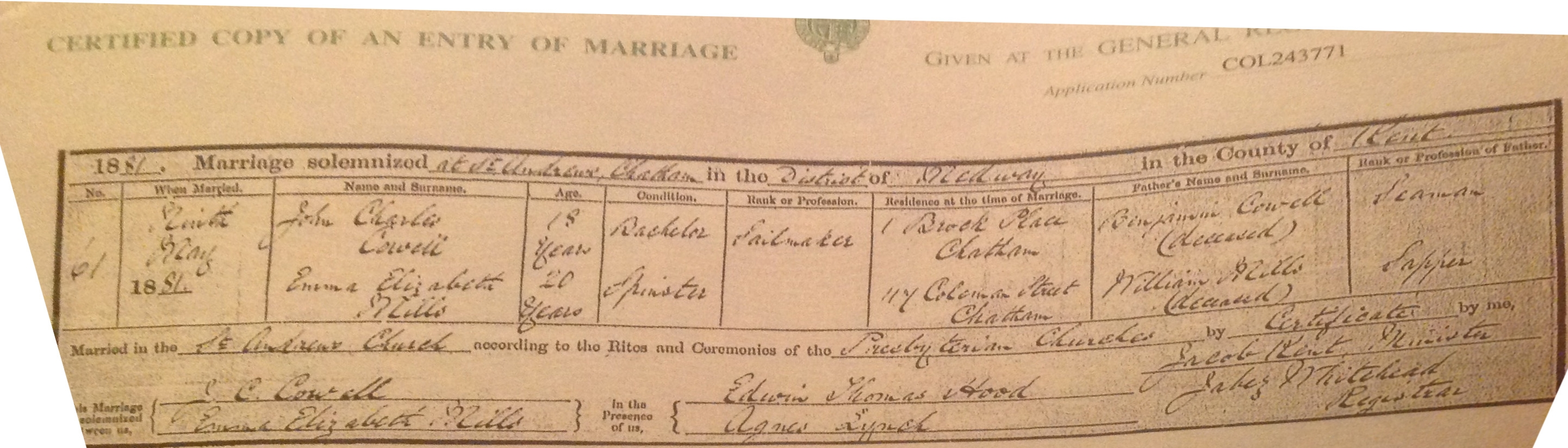 John Cowell - Emma Mills - marriage certificate