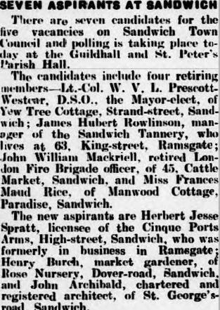 Local Elections - Thanet Advertiser - 1-11-1935