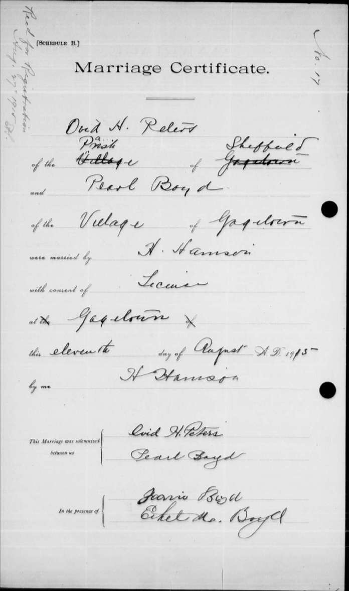 Ovid Peters - Pearl Boyd - marriage certificate