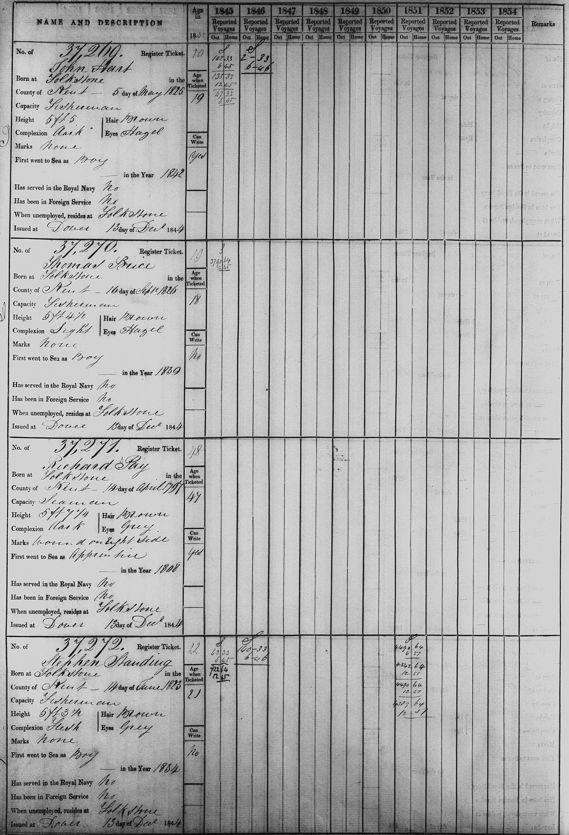 Registration of Merchant Seaman's Ticket
