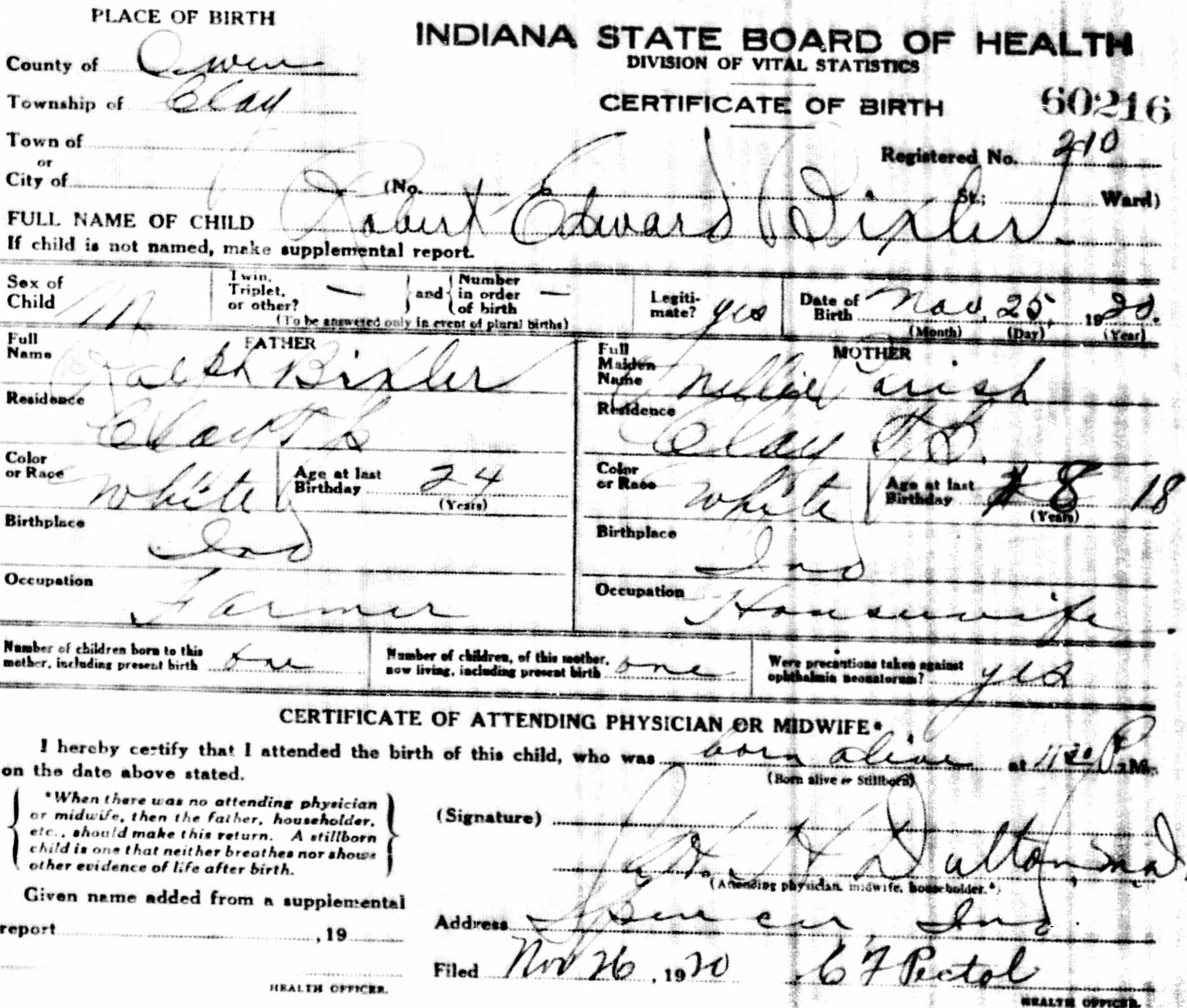 Robert Bixler - birth certificate