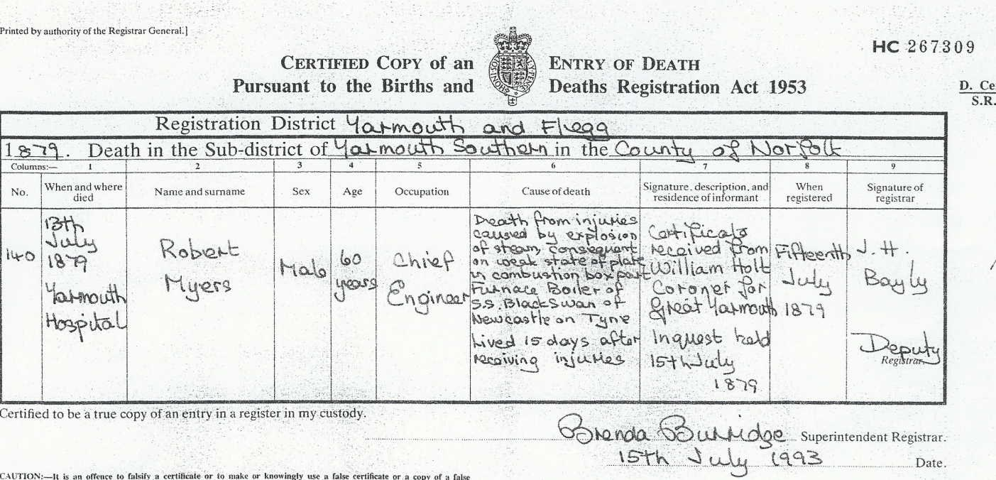 Robert Myers - Death Certificate
