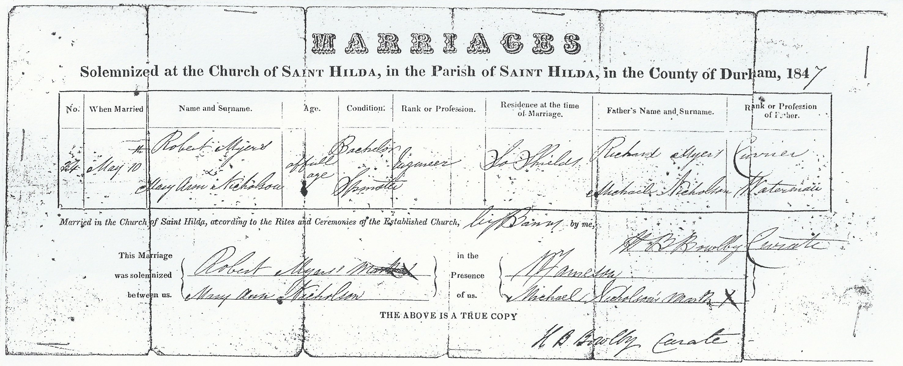 Robert Myers Mary Ann Nicholson - Marriage Certifi