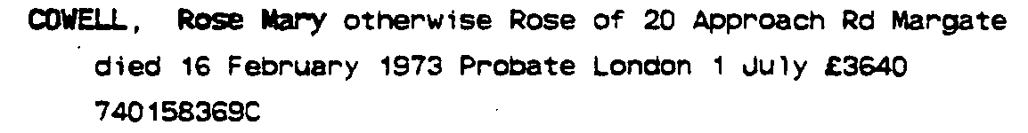 Rose Mary Cowell - Probate