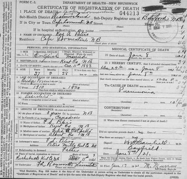 Roy Arthur Peters death certificate