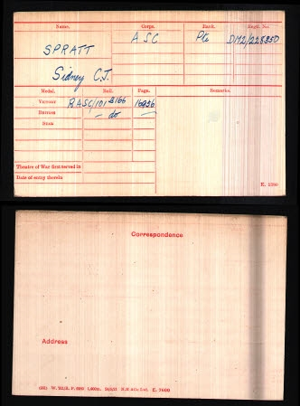 Sidney Charles James Spratt - medal card
