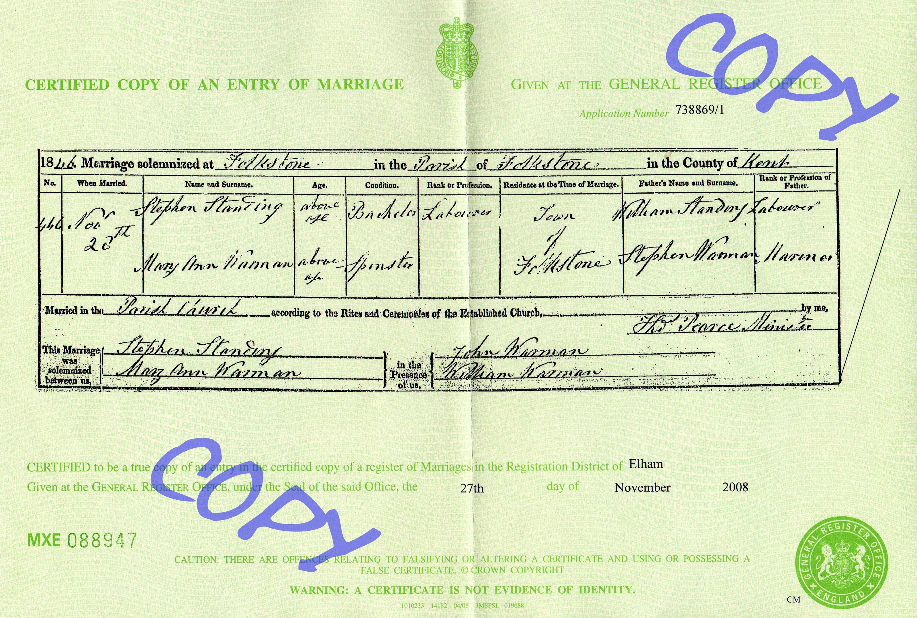 Stephen Standing - Mary Warman - marriage certificate