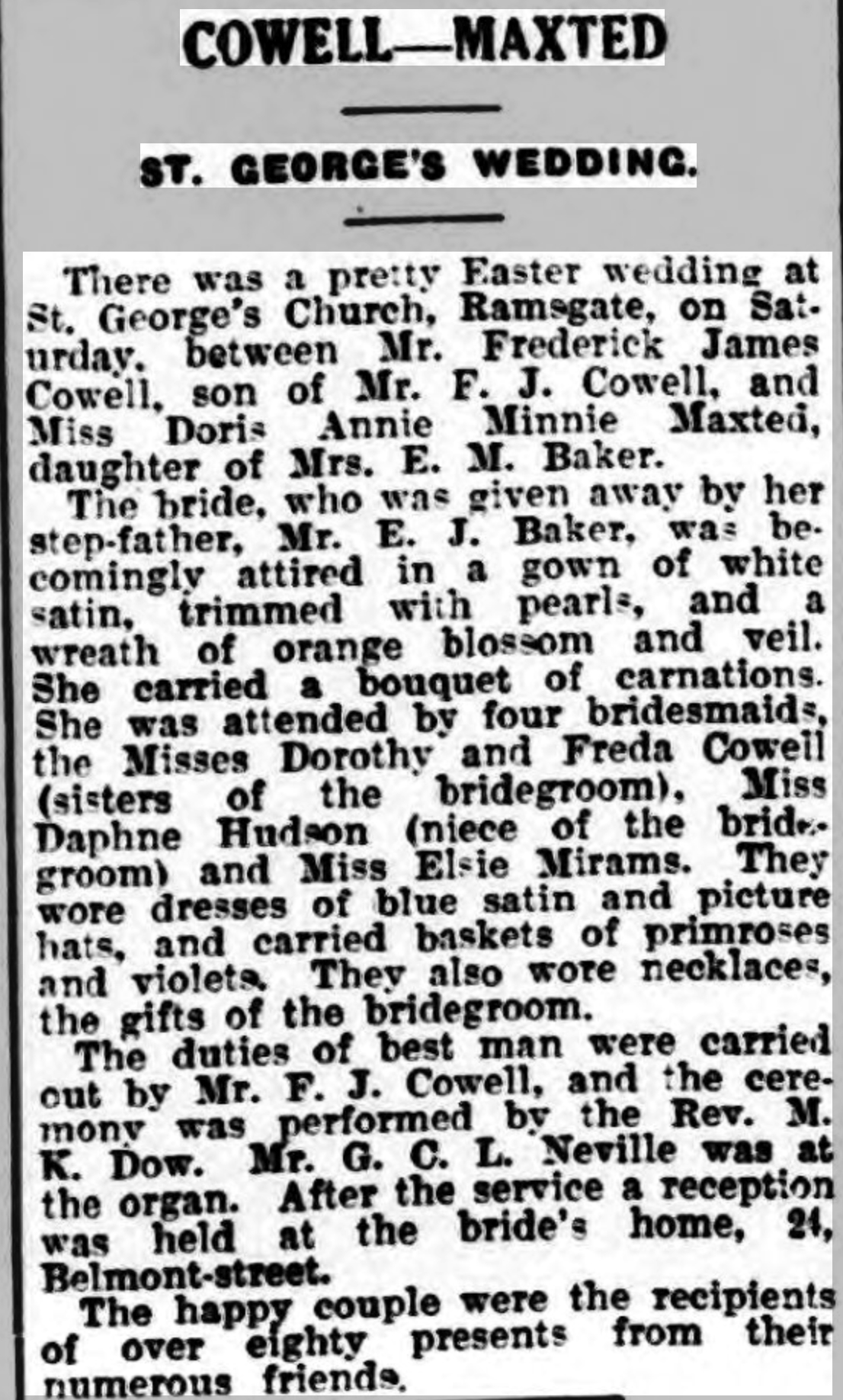 Thanet Advertiser 3 Apr 1934