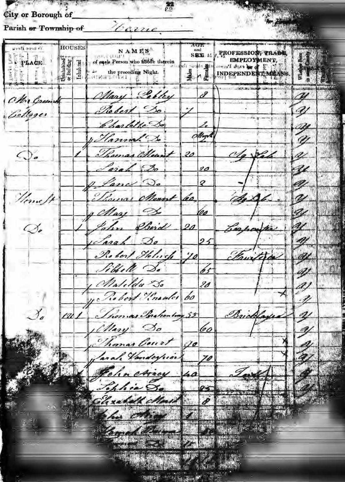 Thomas Mount - 1841 census