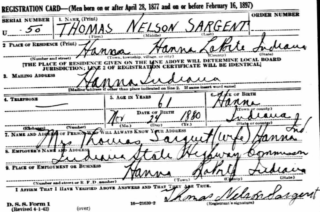 Thomas Sargent - WW2 registration