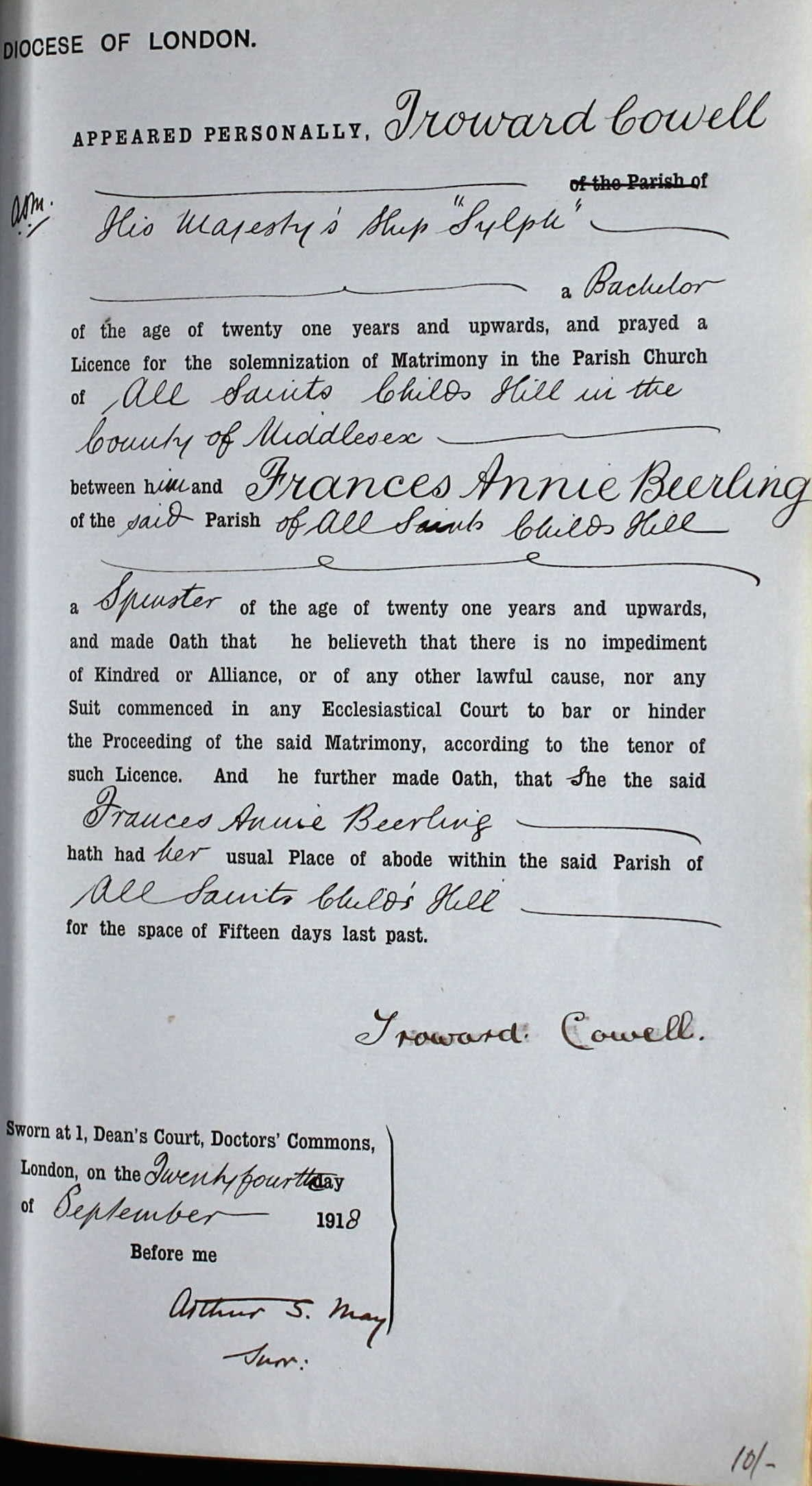 Troward Cowell - Frances Beerling - Marriage Bond