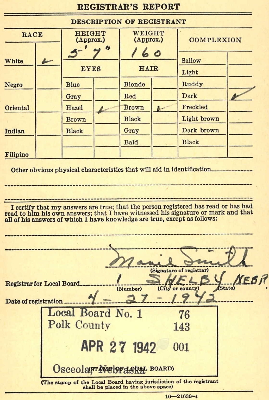 WW2 Registration Card - page 2