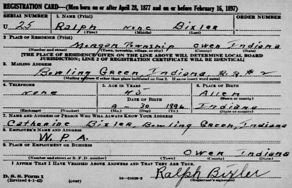 WW2 Registration Card