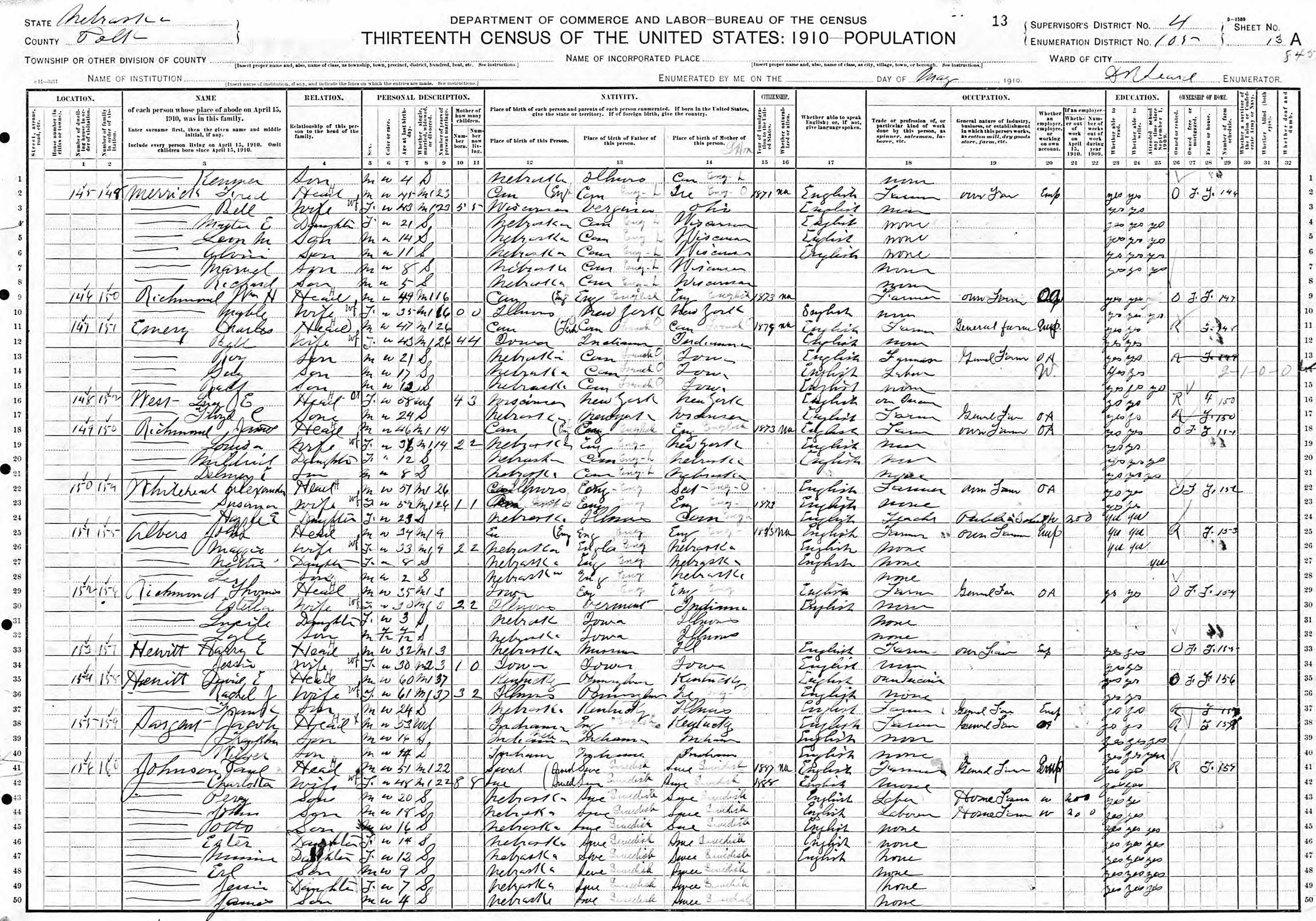 Wilbur Sargent - 1910 Census