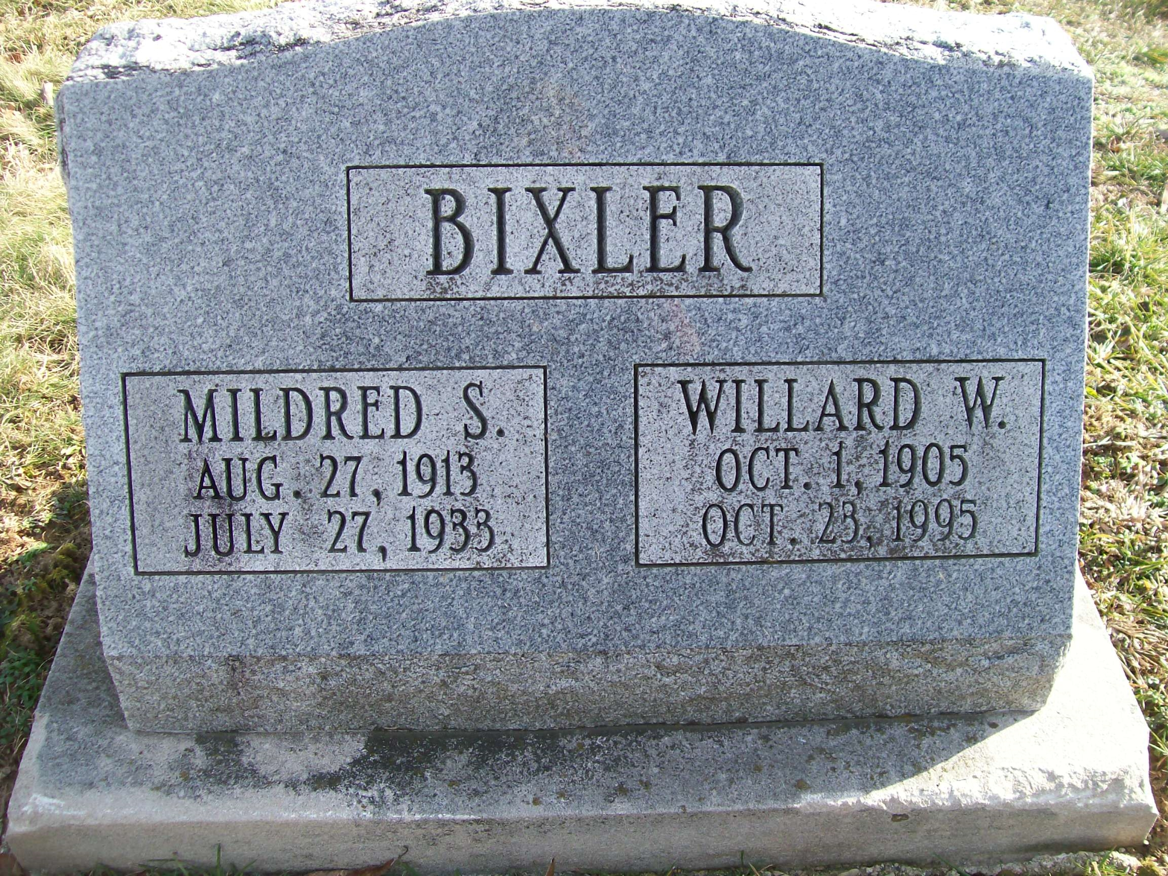 Willard Bixler - Mildred Kiser - gravestone