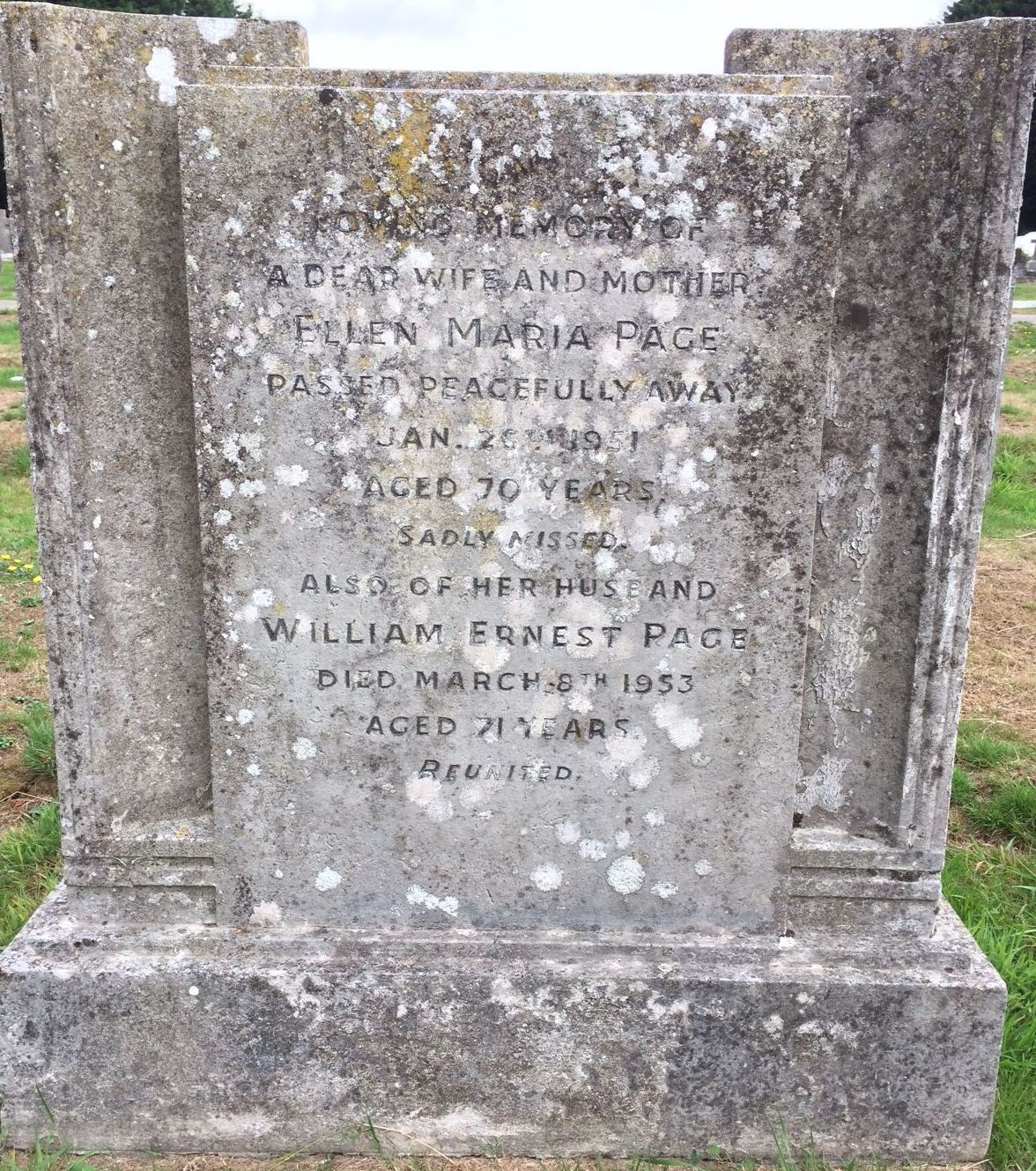 William Ernest Page - Ellen Wellard - Gravestone