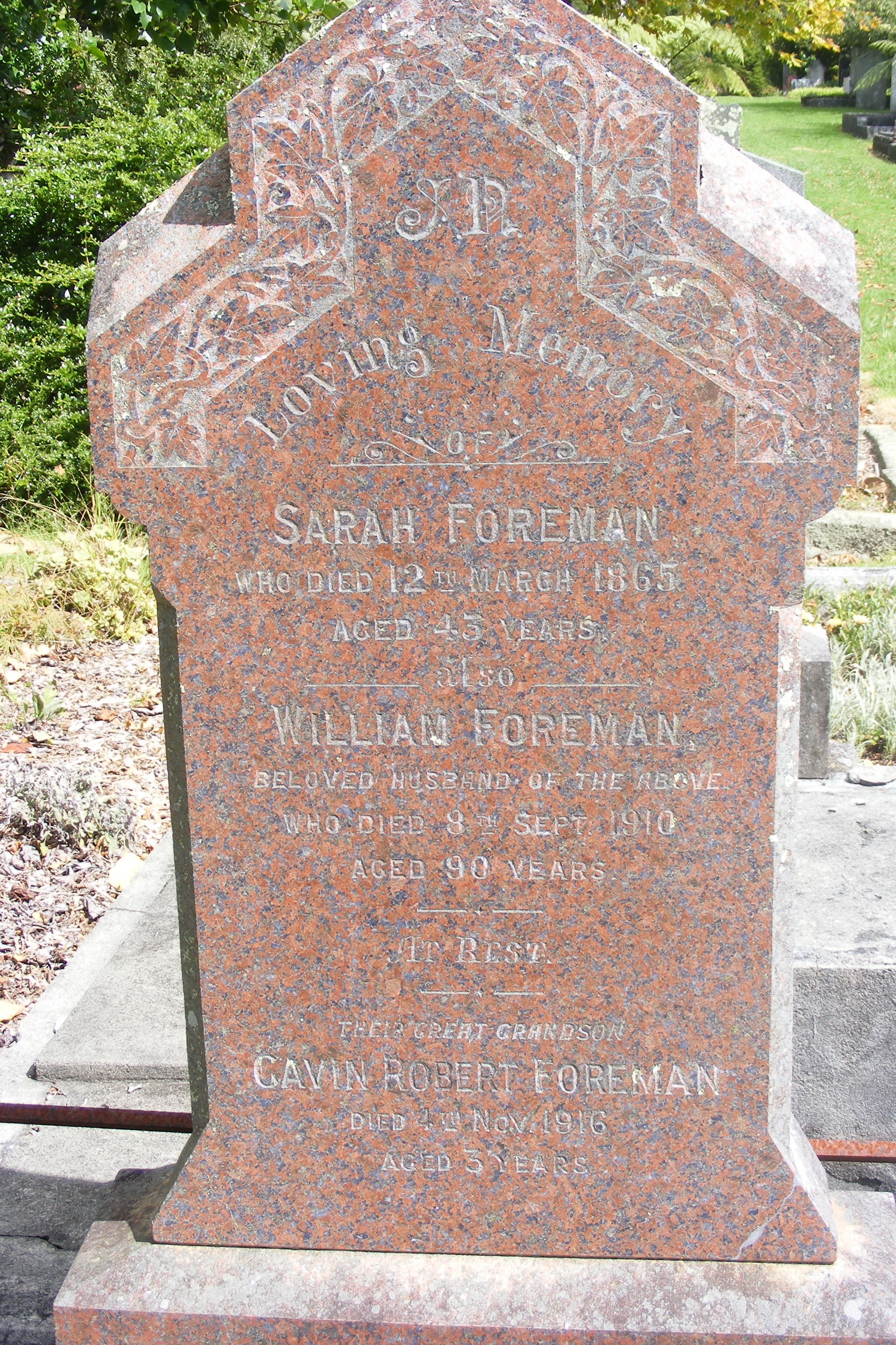 William Foreman - Sarah Spratt - gravestone