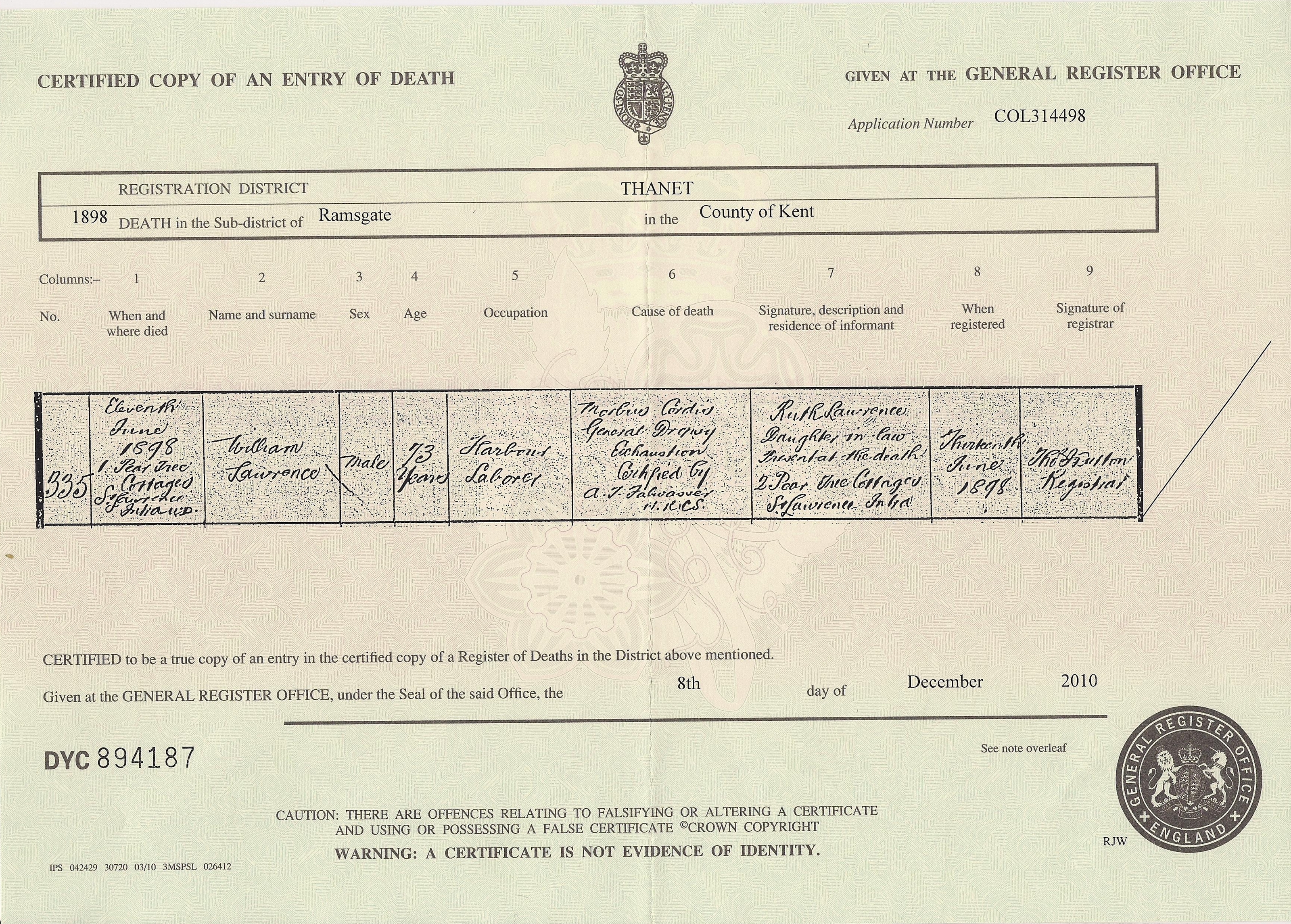 William Lawrence - death certificate
